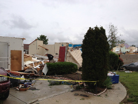 EF3 Tornado destroys a well-built home using wood-frame construction. Only interior rooms remain. Courtesy Wikipedia