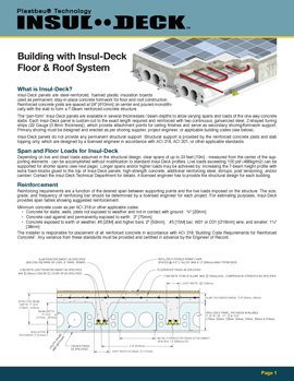 Click here to open the Insul-Deck Technical Summary Manual for Concrete Deck Forming Systems and Suspended Concrete Slab Construction for GA