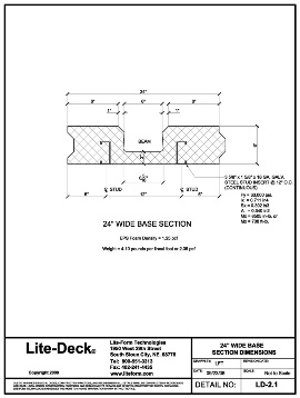 LiteDeck SRS Steel Rib System ICF Concrete Deck Forming 24 inch Technical Details Drawing